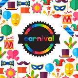Celebration festive background with carnival flat. Icons and objects Stock Photos