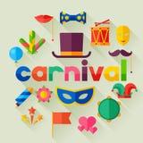 Celebration festive background with carnival flat vector illustration