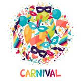 Celebration festive background with carnival icons. And objects Royalty Free Stock Images