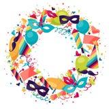 Celebration festive background with carnival icons Stock Photos