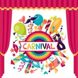 Celebration festive background with carnival icons. And objects Royalty Free Stock Photos