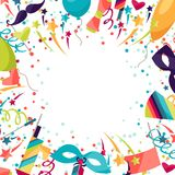 Celebration festive background with carnival icons. And objects Royalty Free Stock Image