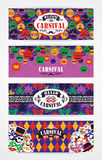 Celebration festive background with carnival icons and objects. Vector Design Templates Collection for Banners, Flyers and other use Royalty Free Stock Photo