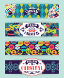 Celebration festive background with carnival icons and objects. Vector Design Templates Collection for Banners, Flyers and other use Royalty Free Stock Image