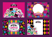 Celebration festive background with carnival icons and objects. Vector Design Templates Collection for Banners, Flyers, Placards, Posters and other use Royalty Free Stock Images