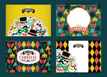 Celebration festive background with carnival icons and objects. Vector Design Templates Collection for Banners, Flyers, Placards, Posters and other use Royalty Free Stock Photos