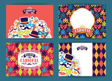 Celebration festive background with carnival icons and objects. Vector Design Templates Collection for Banners, Flyers, Placards, Posters and other use Royalty Free Stock Photography