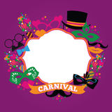 Celebration festive background with carnival icons and objects. Stock Image