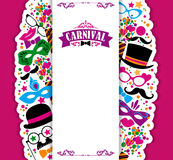 Celebration festive background with carnival icons and objects. Royalty Free Stock Photography