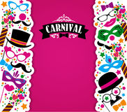 Celebration festive background with carnival icons and objects. Vector illustration Royalty Free Stock Photos
