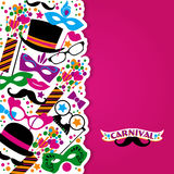 Celebration festive background with carnival icons and objects. Royalty Free Stock Image