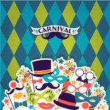 Celebration festive background with carnival icons and objects. Royalty Free Stock Photos