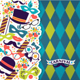 Celebration festive background with carnival icons and objects. Stock Photos