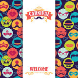 Celebration festive background with carnival icons and objects. Royalty Free Stock Photo