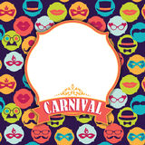 Celebration festive background with carnival icons and objects. Vector illustration Stock Photography