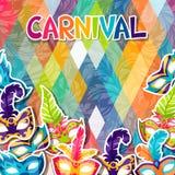 Celebration festive background with carnival masks Royalty Free Stock Image