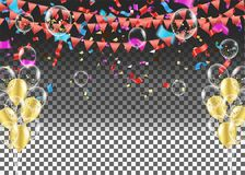 Celebration festive background with confetti and carnival object. S. vector illustrations Royalty Free Stock Image