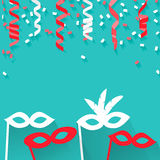Celebration festive background. With confetti, hanging pennants and carnival masks, vector illustration Stock Photo