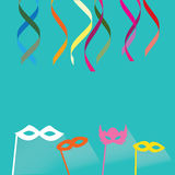 Celebration festive background with confetti, hanging pennants. And carnival masks, vector illustration Stock Photography
