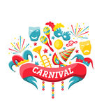 Celebration Festive Banner for Happy Carnival. Illustration Celebration Festive Banner for Happy Carnival with Party Colorful Icons and Objects - Vector Royalty Free Stock Photos