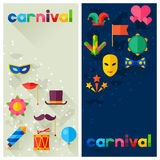 Celebration festive banners with carnival flat. Icons and objects Stock Image