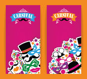 Celebration festive flyer with carnival icons and objects. Stock Photos