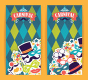 Celebration festive flyer with carnival icons and objects. Vector illustration Stock Photography