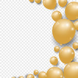 Celebration festive gold balloons on transparent background. Vector Illustration Royalty Free Stock Image