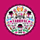 Celebration festive illustration with carnival icons and objects. Vector Design for Banners, Flyers, Placards, Posters and other use Stock Photos