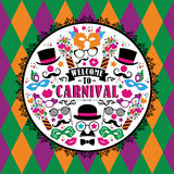 Celebration festive illustration with carnival icons and objects. Vector Design for Banners, Flyers, Placards, Posters and other use Royalty Free Stock Photo