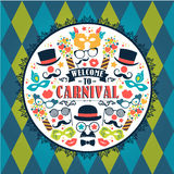 Celebration festive illustration with carnival icons and objects. Vector Design for Banners, Flyers, Placards, Posters and other use Stock Photography