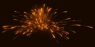 Celebration: festive orange fireworks. At night over black Royalty Free Stock Photos