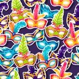 Celebration festive pattern with carnival masks Stock Images