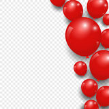 Celebration festive red balloons on transparent background. Vector Illustration Royalty Free Stock Images