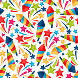 Celebration festive seamless pattern with colorful. Fireworks Stock Images