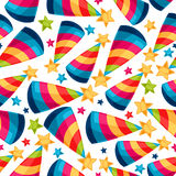 Celebration festive seamless pattern with fool. Caps Royalty Free Stock Image