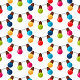 Celebration festive seamless pattern with garland. Bulbs Royalty Free Stock Images