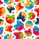 Celebration festive seamless pattern with gift. Boxes Stock Photo
