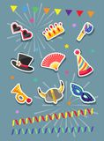 Set of Carnival stickers. Flat design. Vector illustration. Celebration festive set of Carnival sticker icons and objects. Flat design. Vector illustration Stock Images