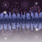 Celebration and festivity concept. With city silhouette stars and fireworks. Vector illustration vector illustration