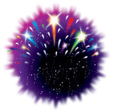 Celebration firework explosion graphic. Icon star bursts twinkling fun happy event Royalty Free Stock Photo