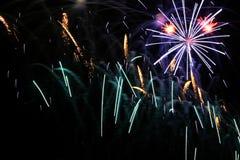 Celebration fireworks. Celebration white and pink fireworks Stock Photo