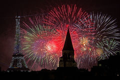 Bastille Day Fireworks. Fireworks at the Bastille Day celebration in Paris, July 14, 2013 royalty free stock photos
