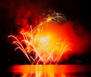 Celebration fireworks. In Brno, Czech republic stock images