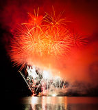 Celebration fireworks. In Brno, Czech republic royalty free stock photos