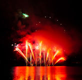 Celebration fireworks. In Brno, Czech republic royalty free stock photography
