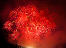 Celebration fireworks. In Brno, Czech republic stock photos