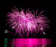 Celebration fireworks. In Brno, Czech republic stock photography