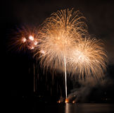 Celebration fireworks. In Brno, Czech republic royalty free stock images