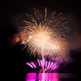 Celebration fireworks. In Brno, Czech republic royalty free stock image